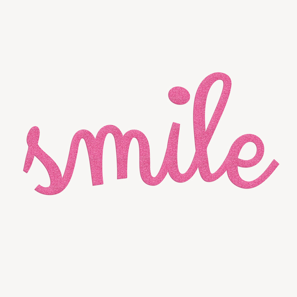 Bilder zum Aufbügeln: Bügelmotiv SMILE Flock magenta