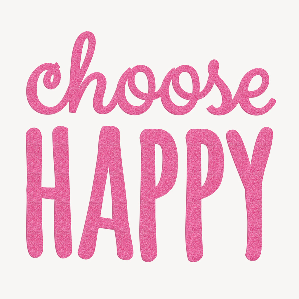 Bügelbilder bestellen: Bügelmotiv CHOOSE HAPPY Flock magenta
