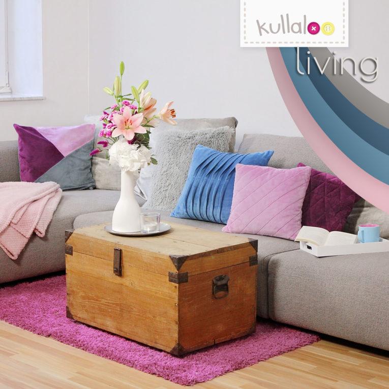 kullaloo living - Kissen nähen mit Plüschs in pflaume, mauve & blau