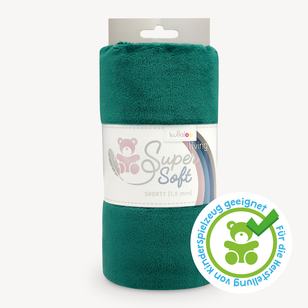Minky Plüschstoff grün / smaragdgrün 100x75 cm - SuperSoft SHORTY