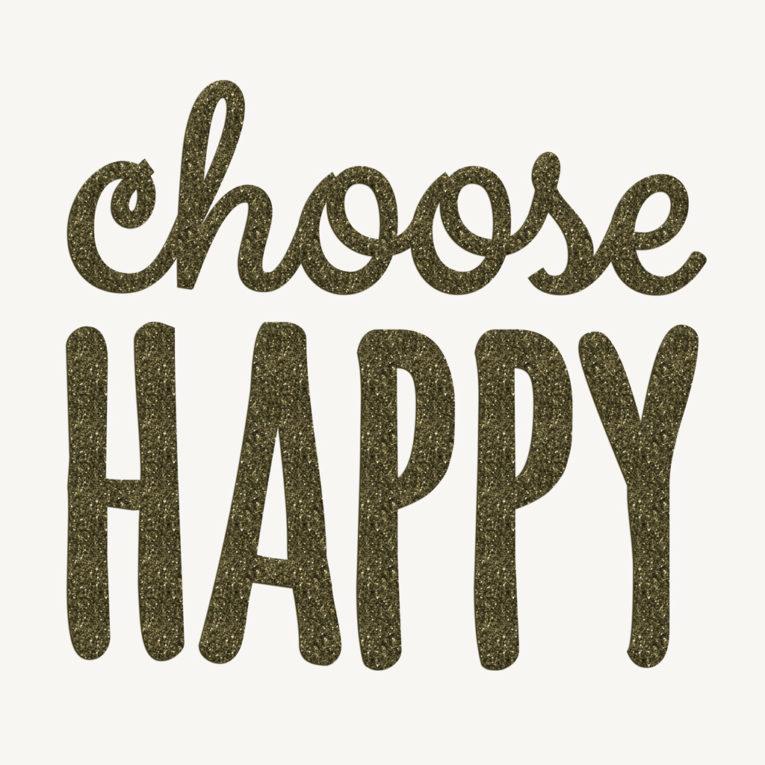 Motive zum Aufbügeln: CHOOSE HAPPY Glitzer olive