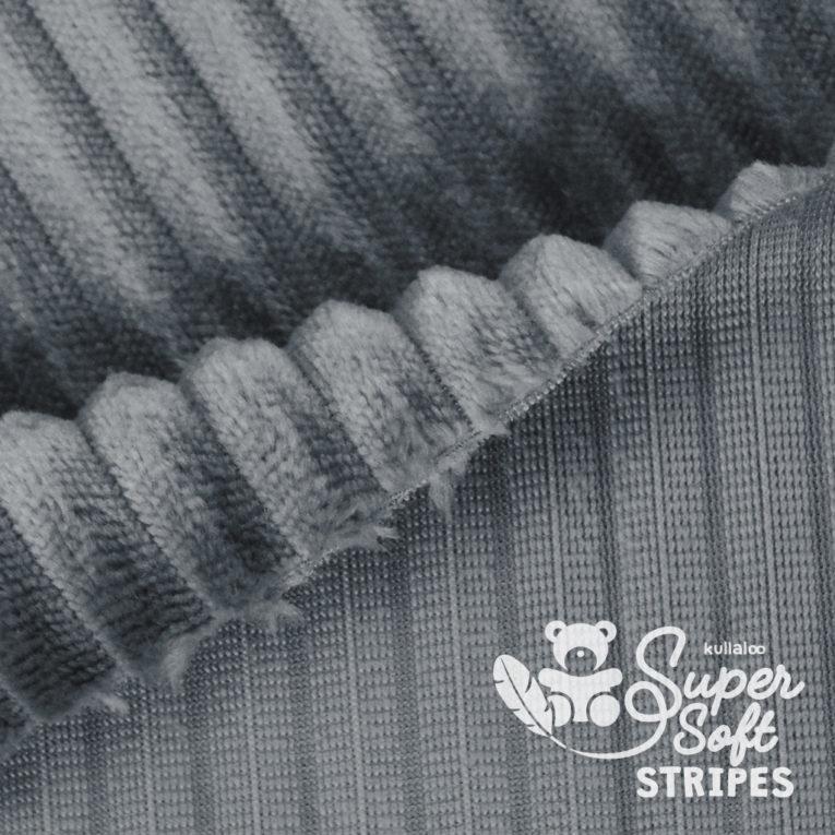 Plüschstoff mit Streifen-Struktur dunkelgrau - SuperSoft STRIPES Rückseite
