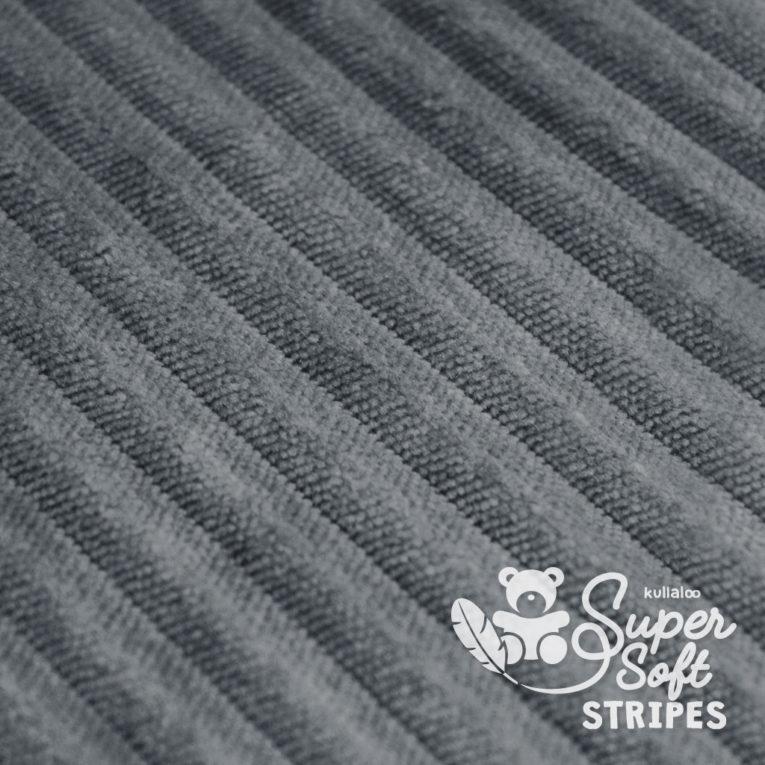 Plüschstoff mit Streifen-Struktur dunkelgrau - SuperSoft STRIPES