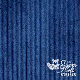 Plüschstoff mit Streifen-Struktur dunkelblau - SuperSoft STRIPES
