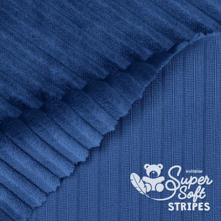 Plüschstoff mit Streifen-Struktur dunkelblau - SuperSoft STRIPES Rückseite