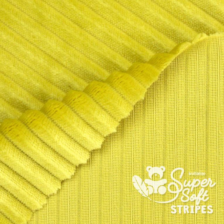 Plüschstoff mit Streifen-Struktur senfgelb - SuperSoft STRIPES Rückseite