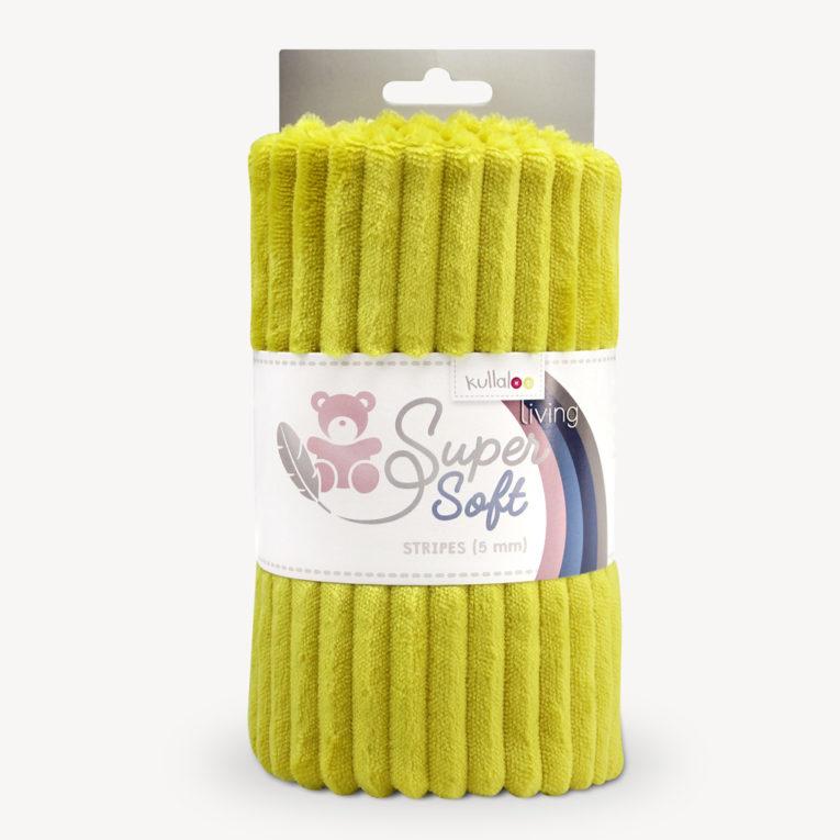 Streifen Minky Stoff senfgelb - Plüschstoff SuperSoft STRIPES