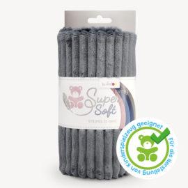 Streifen Minky Stoff dunkelgrau - Plüschstoff SuperSoft STRIPES