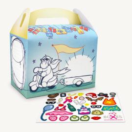 DIY Geschenkbox zum Ausmalen, mit Stickerbogen