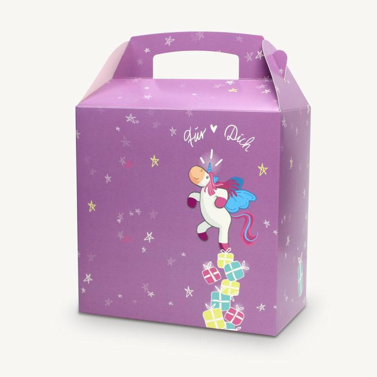 Einhorn Geschenktüte / Geschenkbox Kinder, z.B. für Kindergeburtstag oder Weihnachten