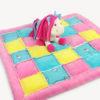 Einhorn Stoff: Babydecke nähen Anleitung - Rag Puff Quilt