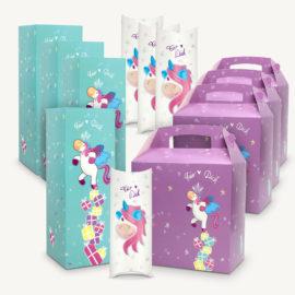 Geschenke schön verpacken: Geschenkboxen / Geschenkverpackung mit Einhorn Motiven 12er-Set