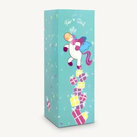 Geschenkschachtel / Flaschenschachtel z.B. für Wein oder als normale Geschenkbox mit Einhorn