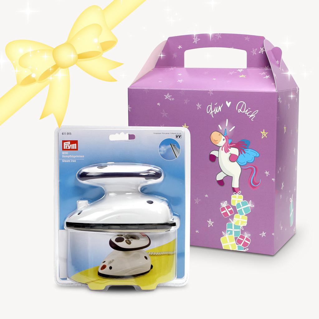 Geschenkset Mini Bügeleisen mit Einhorngeschenkbox