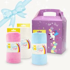 """Geschenk für Nähfans: Set mit 3 Plüsch-Banderolen """"rosa blau weiß"""""""