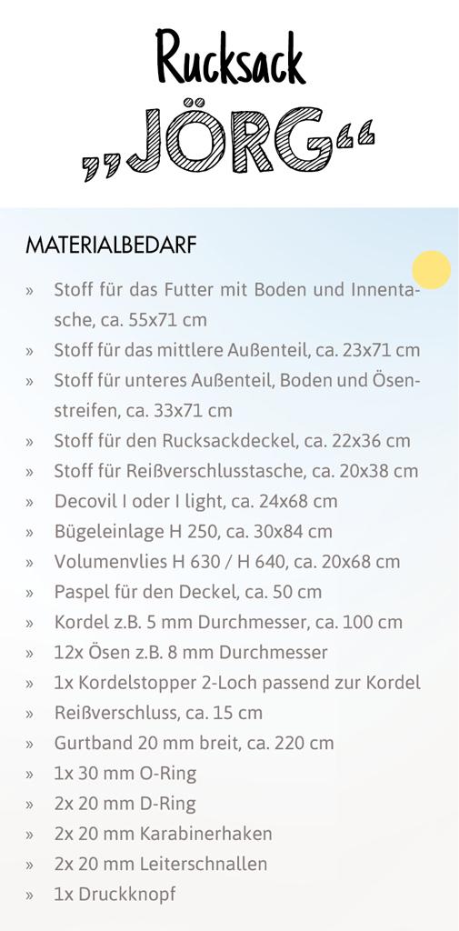 SEWwhat? byGraziela Edition: Materialverbrauch Schnittmuster Rucksack