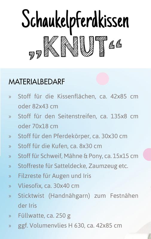 SEWwhat? byGraziela Edition: Materialverbrauch Schnittmuster Schaukelpferdkissen