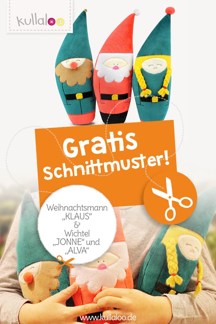 Gratis Schnittmuster Weihnachtsmann & Wichtel