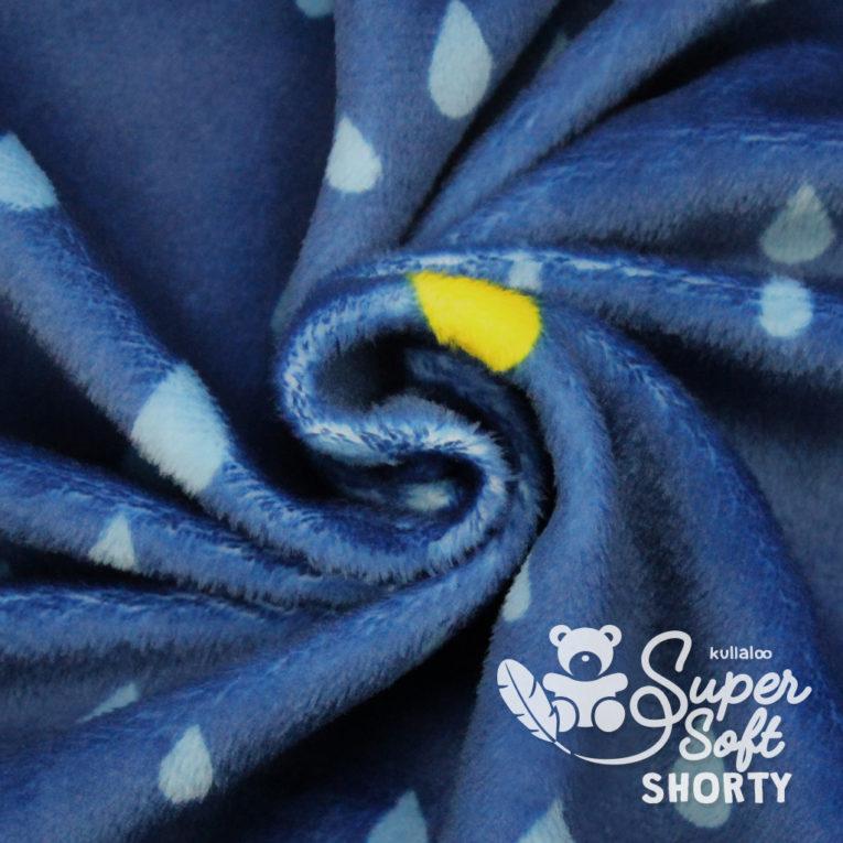 """Plüschstoff Tropfen """"Dreamy Drops"""" dunkelblau/gelb - SuperSoft SHORTY"""