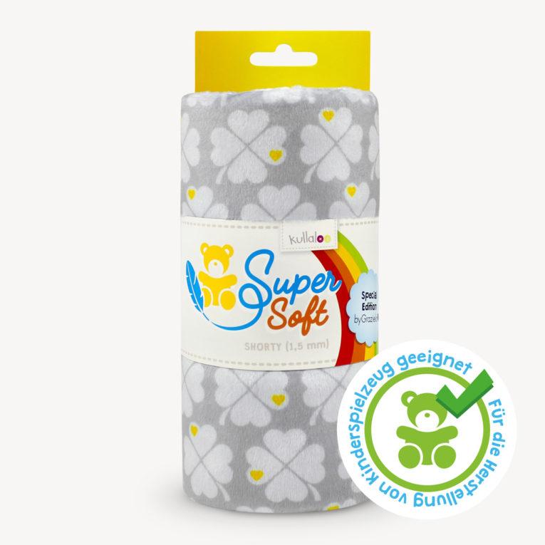 Plüsch Stoff byGraziela Kleeblätter grau - SuperSoft SHORTY, spielzeugtauglich