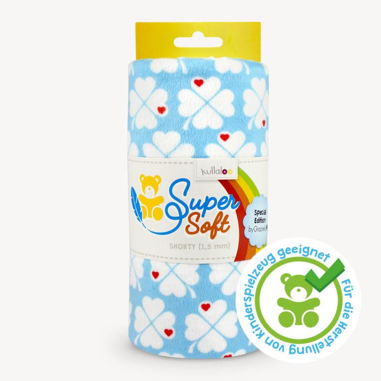 Plüsch Graziela Stoff Kleeblätter türkis - SuperSoft SHORTY, spielzeugtauglich