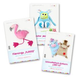 Schnittmuster Set Flamingo FLAVIO, Schnuffeltuch Einhorn LADY LU und Monster MEMO MONSTI