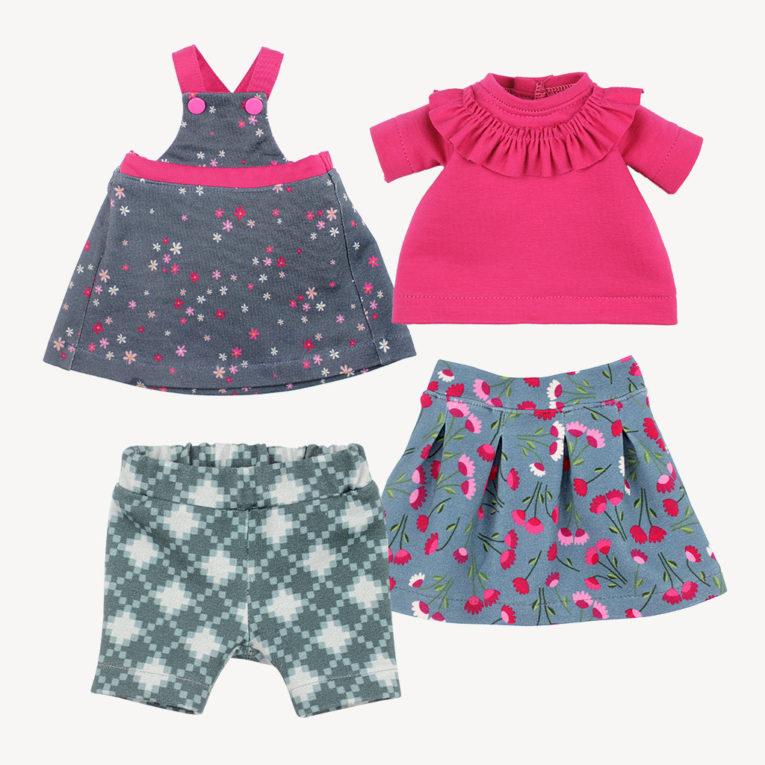 Schnittmuster Puppenkleidung Latzkleid, Faltenrock, Hose und T-Shirt