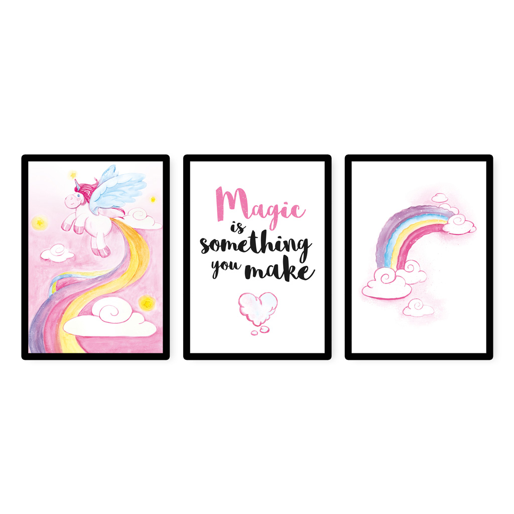 bilder kinderzimmer m dchen aquarell einhorn poster 3er set kullaloo. Black Bedroom Furniture Sets. Home Design Ideas