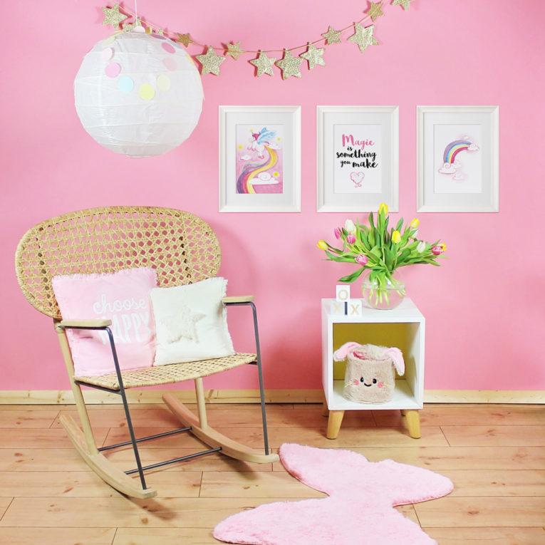 Bilder Kinderzimmer Mädchen: Zauberhafte Einhorn Poster im 3er-Set, Aquarell
