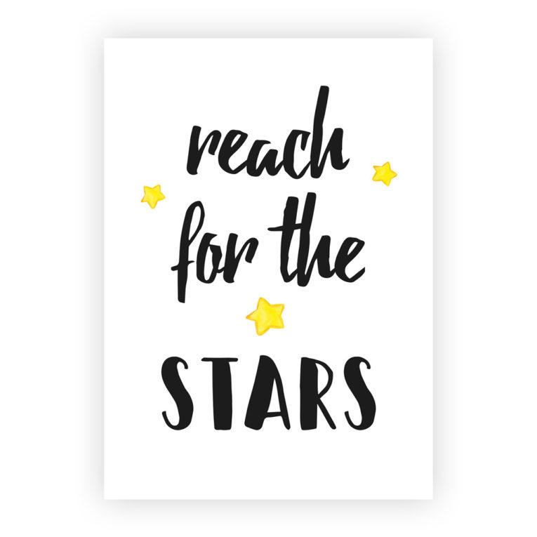 """Kinderzimmer Bilder 3er-Set: Spruch """"Reach for the stars"""""""