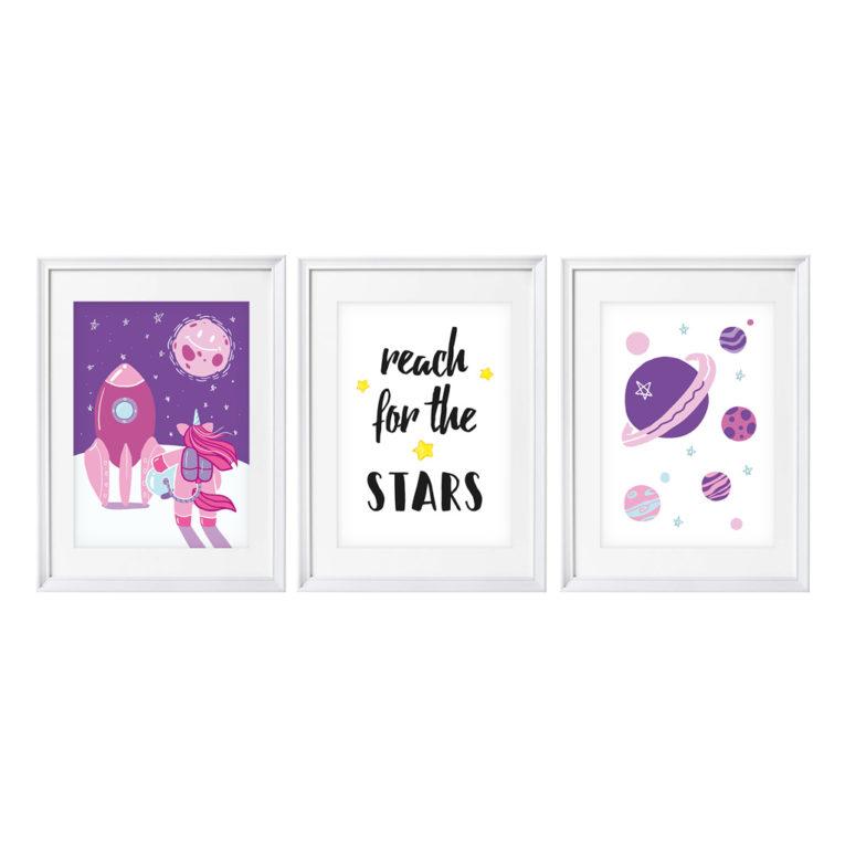 Kinderzimmer Bilder: Poster Einhorn im Weltraum als A4 3er-Set