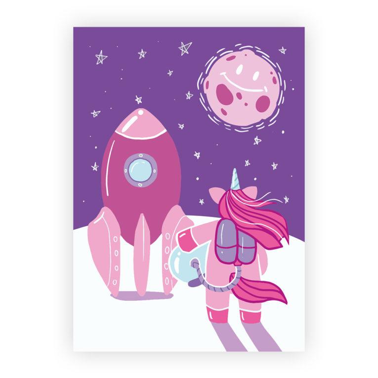 Kinderzimmer Bilder 3er-Set: Illustration Einhorn mit Rakete