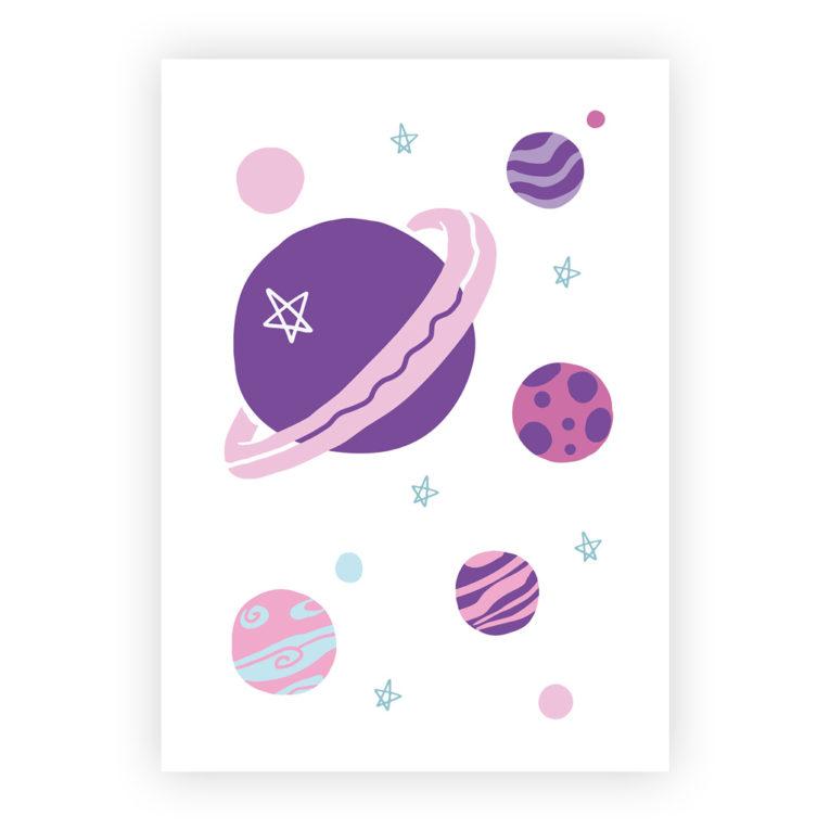Kinderzimmer Bilder 3er-Set: Illustration Planeten