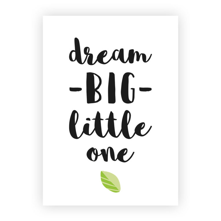 "Bilder Babyzimmer 3er-Set: Spruch ""Dream big little one"""