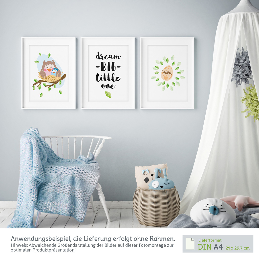 zauberhafte bilder babyzimmer 3er set eulen mit spruch kullaloo. Black Bedroom Furniture Sets. Home Design Ideas