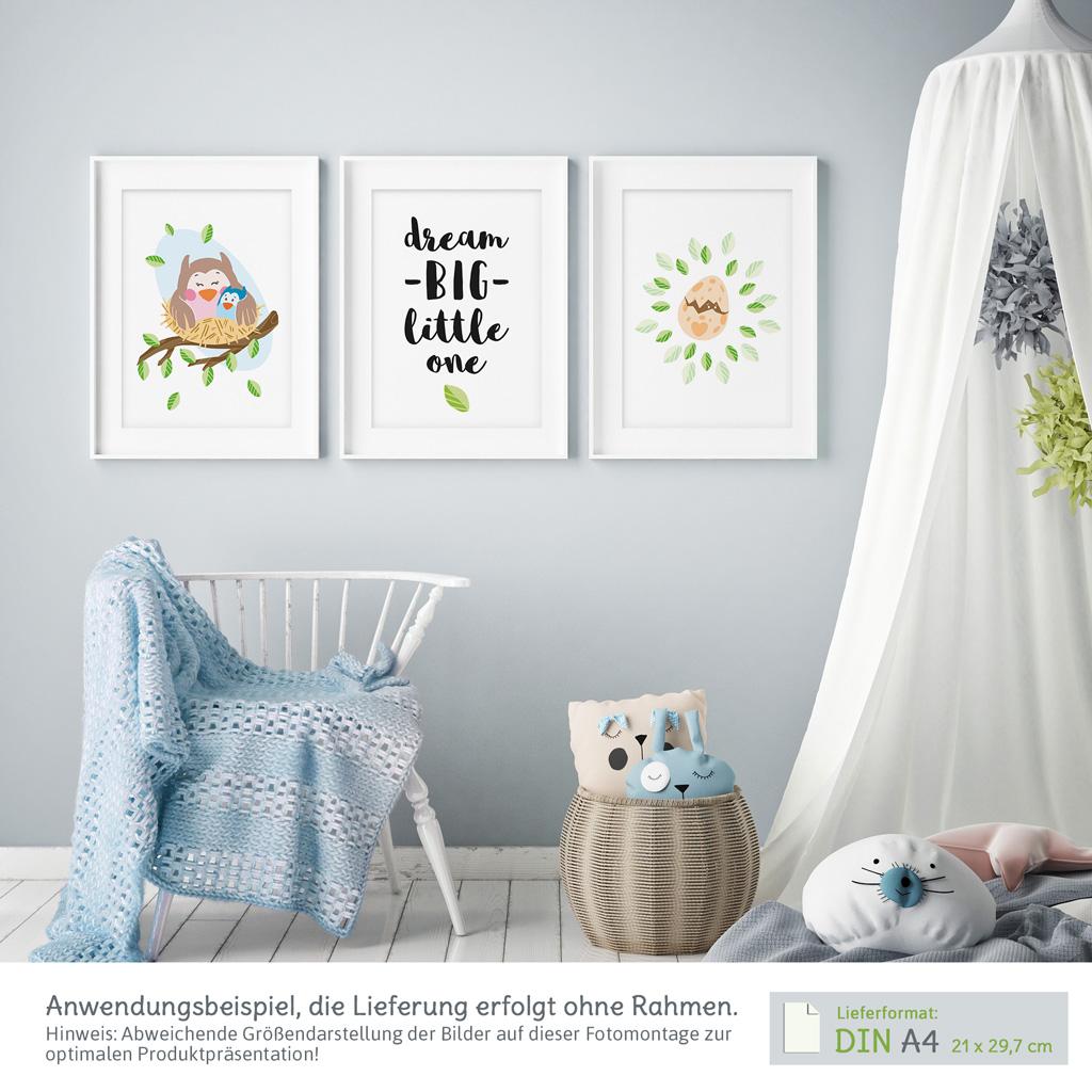 Zauberhafte bilder babyzimmer 3er set eulen mit spruch kullaloo - Bilder babyzimmer ...