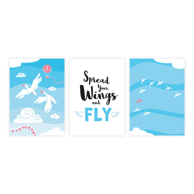 "Poster für Babyzimmer: A4 3er-Set mit Gänse Illustration und Spruch ""Spread your wings and fly"""