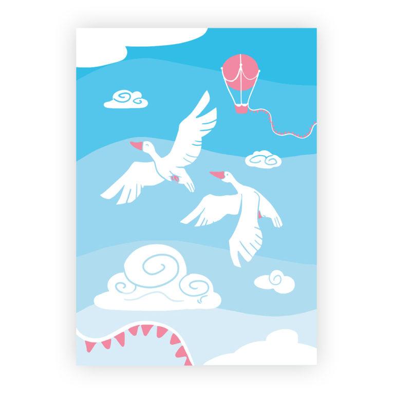 Poster für Babyzimmer 3er-Set: Illustration Gänse mit Heißluftballon und Wolken