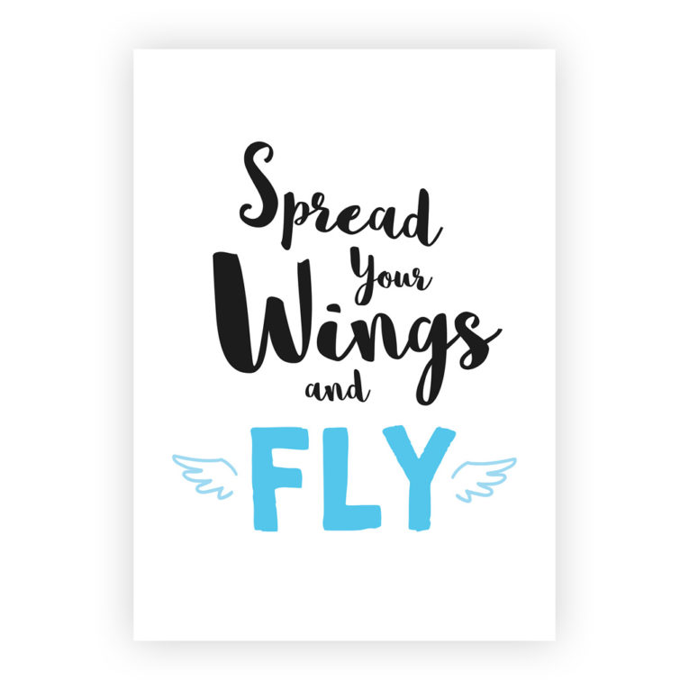 "Poster für Babyzimmer 3er-Set: Spruch ""Spread your wings and fly"""