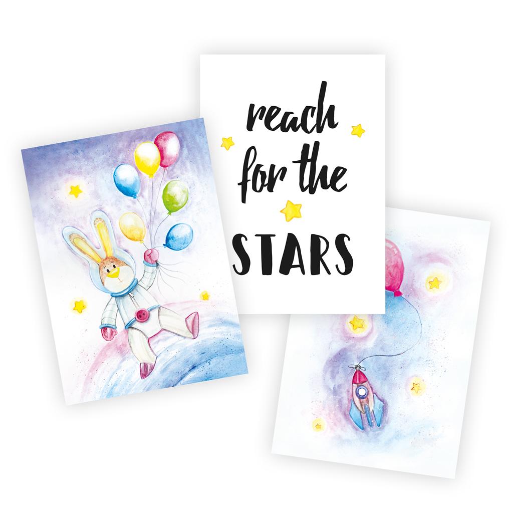 """Kinderzimmer Poster Weltraum: A4 3er-Set mit Motiv """"Hase mit Ballons"""""""
