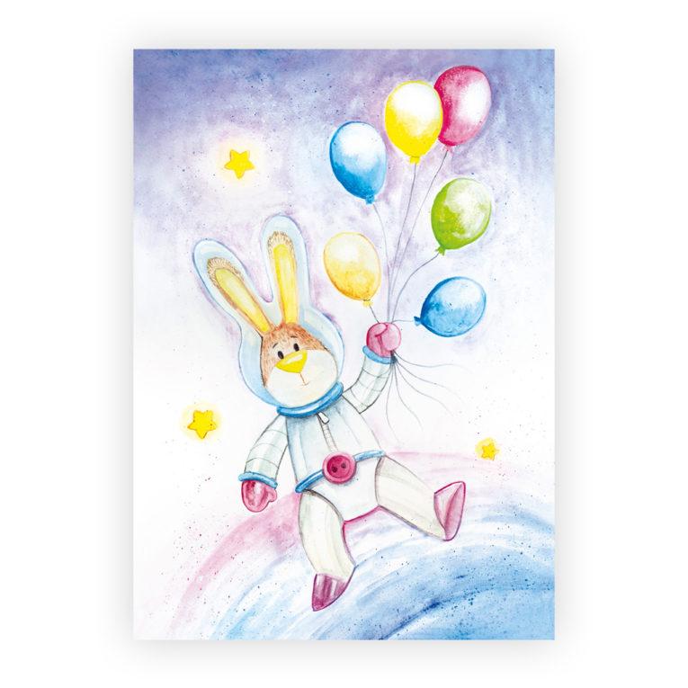 Kinderzimmer Poster Weltraum 3er-Set: Hase mit Ballons Aquarell