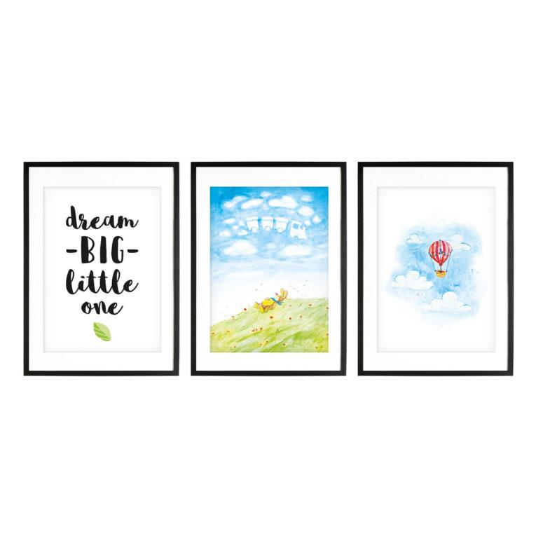 """Bilder für Kinderzimmer: A4 3er-Set mit Aquarell Motiv """"Hase träumt auf Wiese"""""""