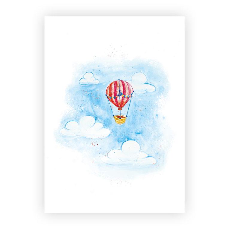 """Bilder für Kinderzimmer im 3er-Set: Aquarell """"Heißluftballon"""""""