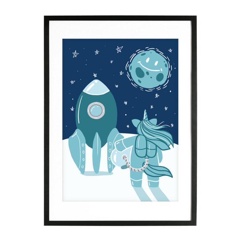 """A3 Poster für Kinderzimmer """"Einhorn im Weltraum"""" blau"""