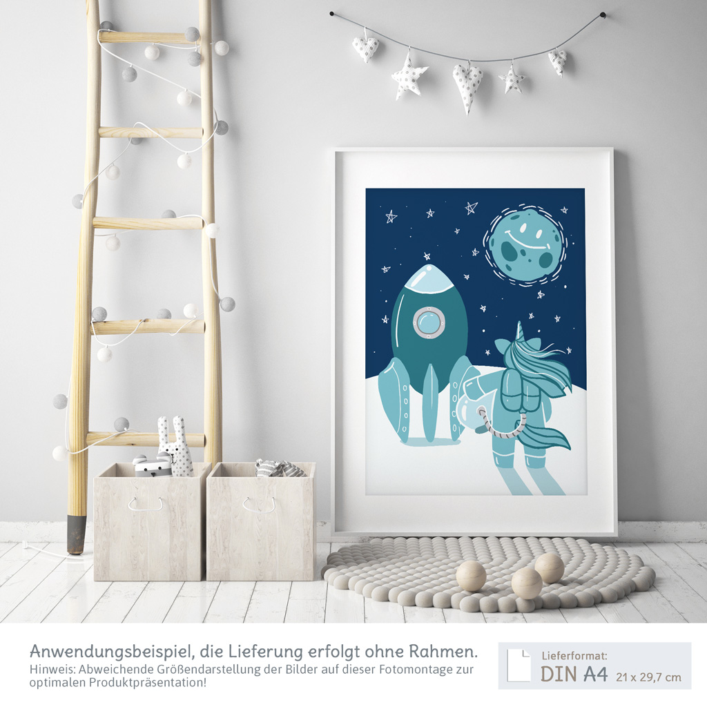a3 poster f r kinderzimmer einhorn im weltraum blau. Black Bedroom Furniture Sets. Home Design Ideas
