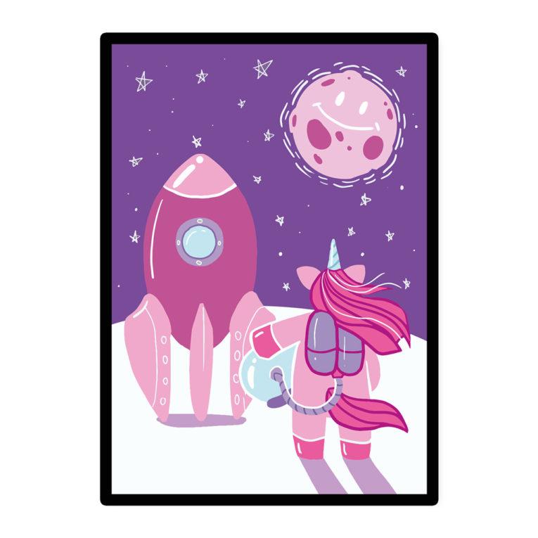 "A3 Poster Kinder ""Einhorn im Weltraum"" rosa / lila"