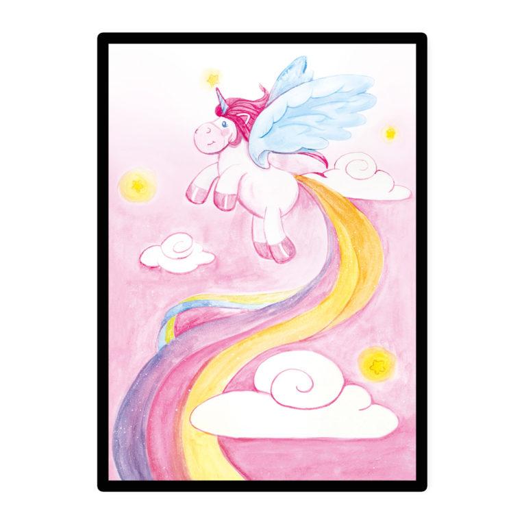 """A3 Babyzimmer Poster: Aquarell Einhorn """"LADY LU"""""""