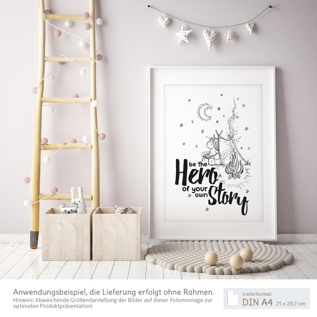 Kinderposter schwarz weiß mit Einhorn im Zelt und Typografie | kullaloo