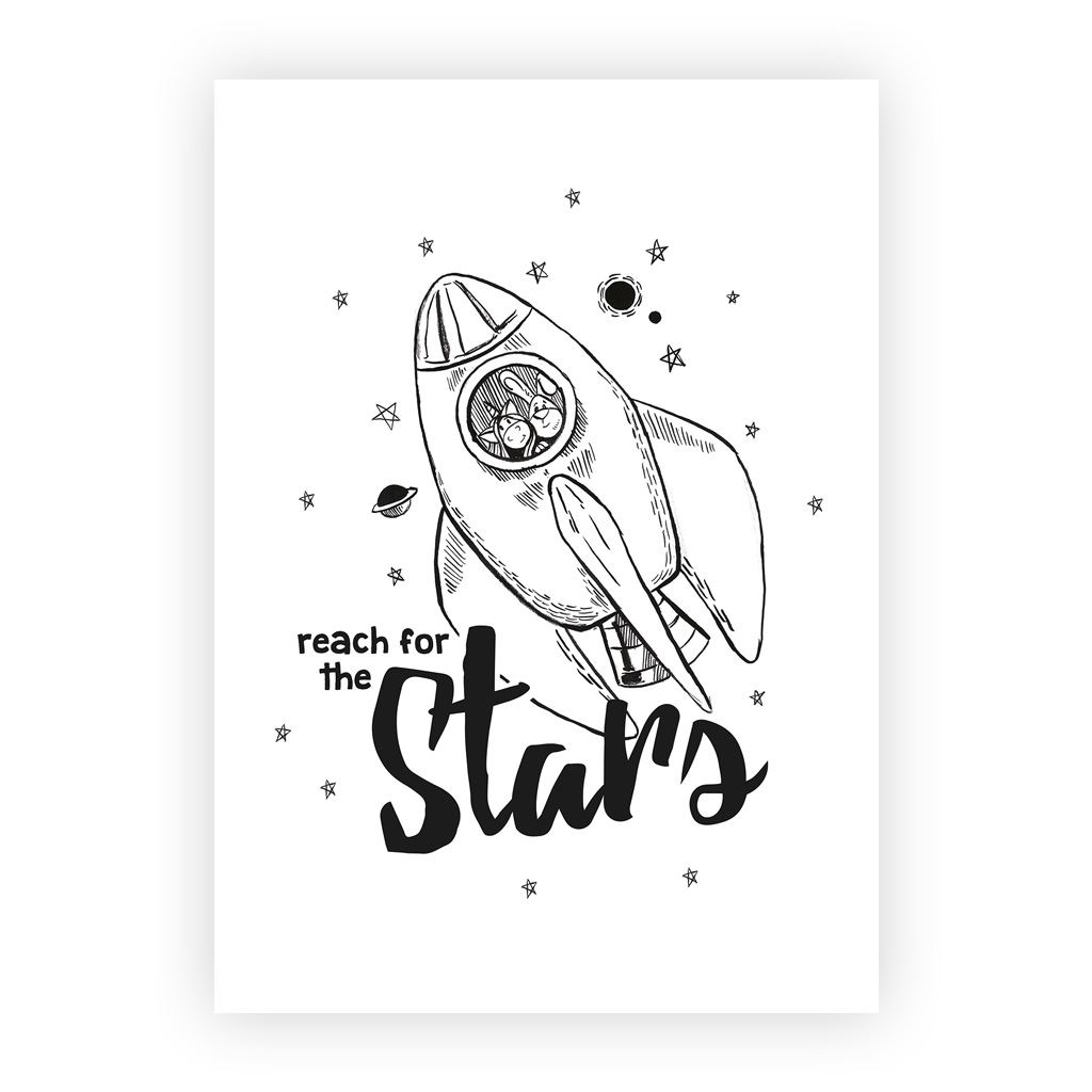 poster babyzimmer schwarz wei reach for the stars rakete kullaloo. Black Bedroom Furniture Sets. Home Design Ideas