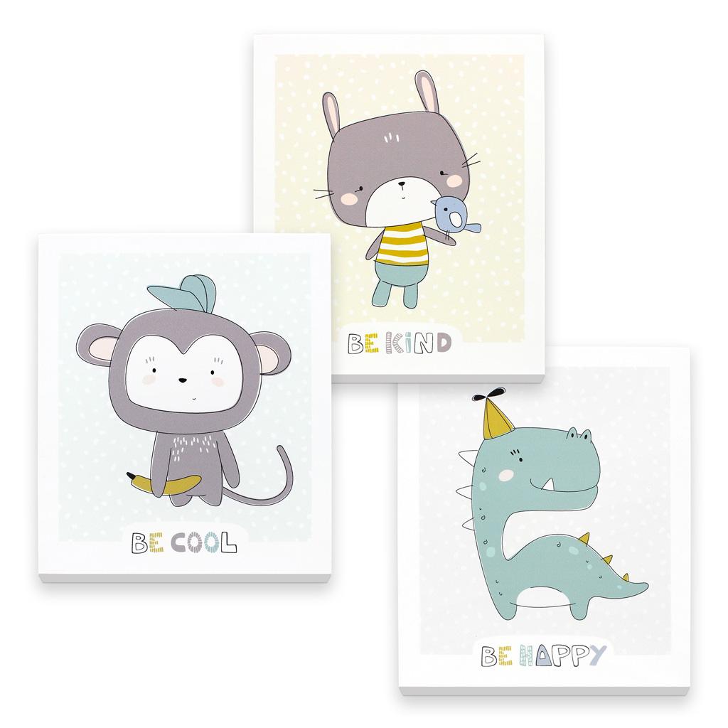 3D Wandbilder Babyzimmer: Süßes 3er-Set mit Affe, Hase und Dino ...
